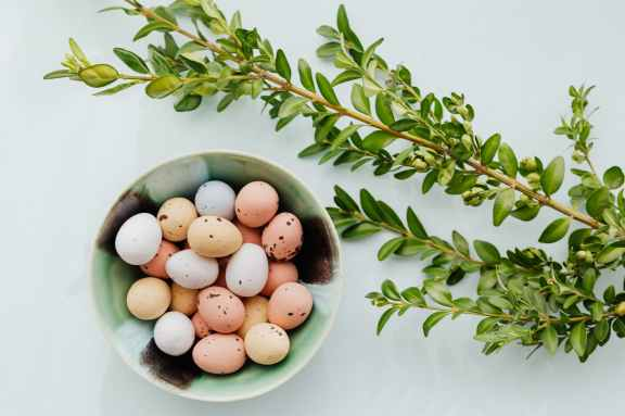 easter eggs in a ceramic bowl